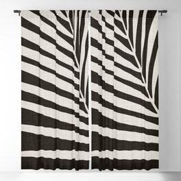 Zebra Palm / Black and White Palm Frond Blackout Curtain
