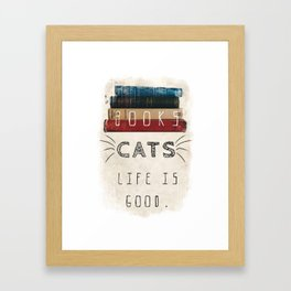 Books and cats design Framed Art Print