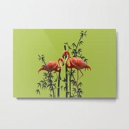 Flamingo Bamboo Leaves green Metal Print