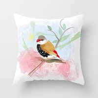 birdy Throw Pillows featuring Birdy by Lorene R illustration