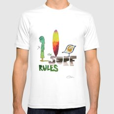 The Surf Rules MEDIUM White Mens Fitted Tee