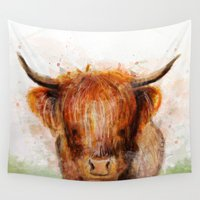 cow Wall Tapestries featuring Cow by emegi