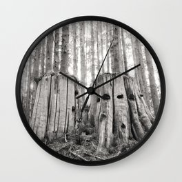 Nurse Stump Pacific Northwest Forest Cedar Trees Sepia Print Wall Clock