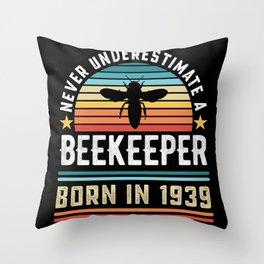 Beekeeper born 1939 90th Birthday Gift Beekeeping Throw Pillow