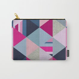 Pink, Blue and Silver Triangles Carry-All Pouch