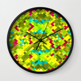 square pixel pattern abstract in yellow green blue red Wall Clock