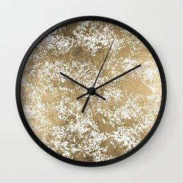 Elegant chic faux gold foil paint splatters pattern Wall Clock