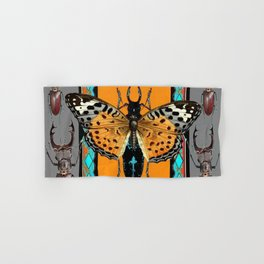 CONTEMPORARY  BUTTERFLY GREY STAG-HORNED BEETLES Hand & Bath Towel