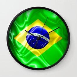 Brazil Flag Waving Silk Fabric Wall Clock