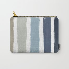 Blue & Taupe Stripes Carry-All Pouch