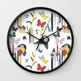 Rainbow Butterfly Lotus Garden Wall Clock
