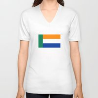 south africa V-neck T-shirts featuring Afrikaner ethnic flag south africa country by tony tudor