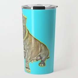 beautiful canine female dog smiles aquamarine perro fotografia american bully fondo azul Travel Mug