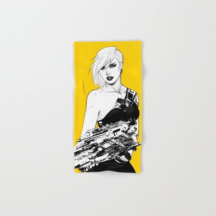 Badass girl with gun in comic pop art style Hand & Bath Towel