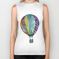 hot air balloon Biker Tanks featuring Hot Air Balloon by Emily Stalley