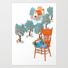 Farm Animals in Chairs #4 Chicken Art Print