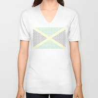 jamaica V-neck T-shirts featuring digital Flag (Jamaica) by seb mcnulty