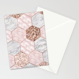 Rose gold dreaming - marble hexagons Stationery Cards