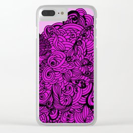 Squirrels Zentangle Drawing Pink Clear iPhone Case