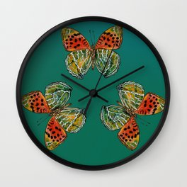Himalayan Fritillary Butterfly - Emerald Green & Orange Red Wall Clock