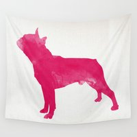 boston Wall Tapestries featuring Boston Terrier by Three Black Dots