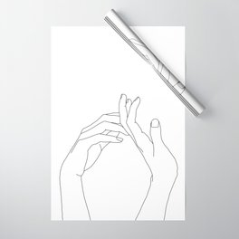 Hands line drawing illustration - Abi Wrapping Paper