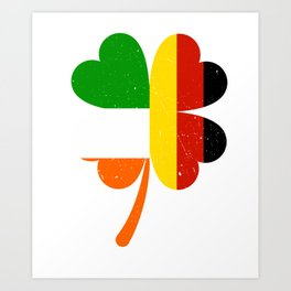 German Irish Flag Shamrock St Patricks Day Art Print