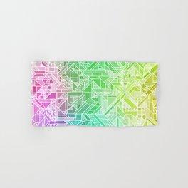 Bright Gradient (Violet Purple Lime Green Neon Yellow) Geometric Pattern Print Hand & Bath Towel