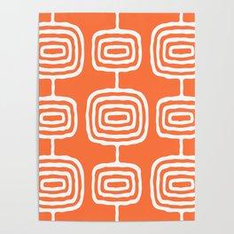 Mid Century Modern Atomic Rings Pattern 771 Orange Poster