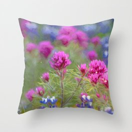 Flowers in bloom pink and purple Throw Pillow