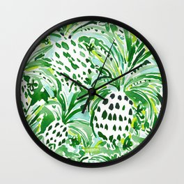 TROPICAL SITCH Green Pineapple Watercolor Wall Clock