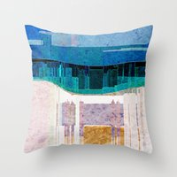 cityscape Throw Pillows featuring CITYSCAPE by Catspaws