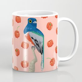 Brazilian Birds & Fruits - Blue-crowned trogon + brazilian cherries Coffee Mug