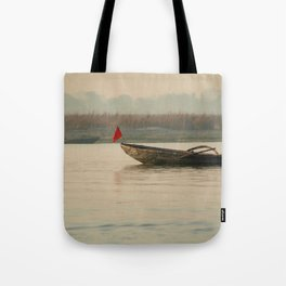 Fishing Boat with Red Flag Tote Bag