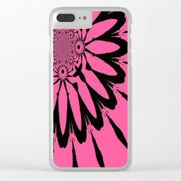 The Modern Flower Pink & Black Clear iPhone Case