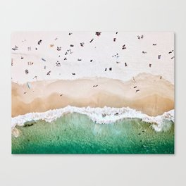 A aerial shot of a sandy beach and crystal clear water Canvas Print