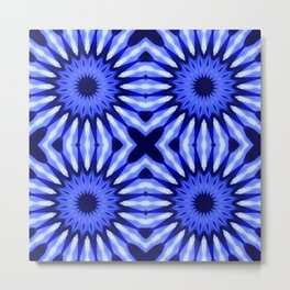 Blue Flowers Mandala Pattern Metal Print