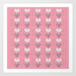 Paper Heart Pink Background Art Print