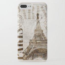 Vintage Paris eiffel tower illustration iPhone Case