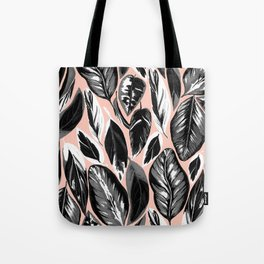 Calathea black & grey leaves with pale background Tote Bag