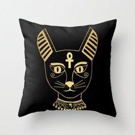 Cat goddess - Bastet Throw Pillow