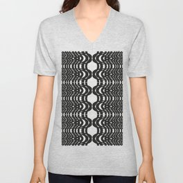 Black and White Swish Unisex V-Neck