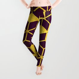 Dark Purple and Gold Cubes Leggings