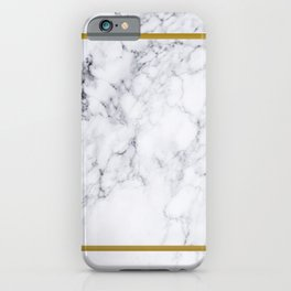 White Marble Gold Frame iPhone Case