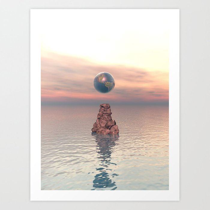 Earth Above The Sea Art Print