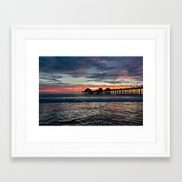calendars Framed Art Prints featuring Huntington Beach Sunset  1/26/14 by John Minar Fine Art Photography