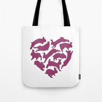 bunnies Tote Bags featuring Bunnies by Silke Spingies