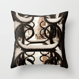 Harlem brownstones under the snow close up Throw Pillow