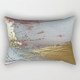 Darling [2]: a minimal, abstract mixed-media piece in pink, white, and gold by Alyssa Hamilton Art Rectangular Pillow
