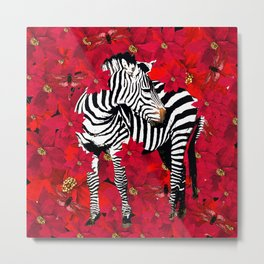 ZEBRA AND FLOWERS Metal Print